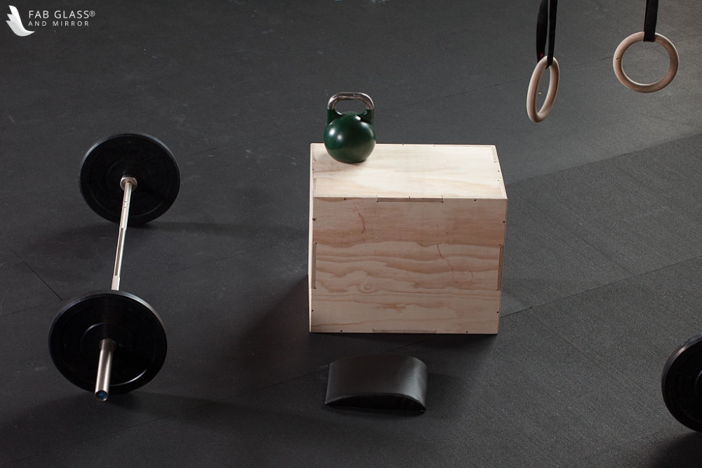 home gym wooden boxes