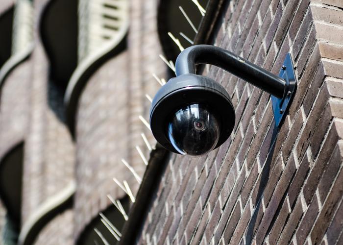 CCTV camera on building