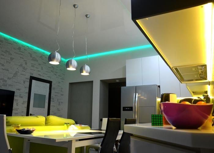 LED strips on ceiling livingroom